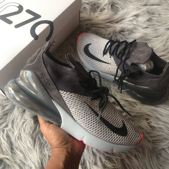 Nike Air Max 270 Flyknit atmosphere grey men's 10 NWT